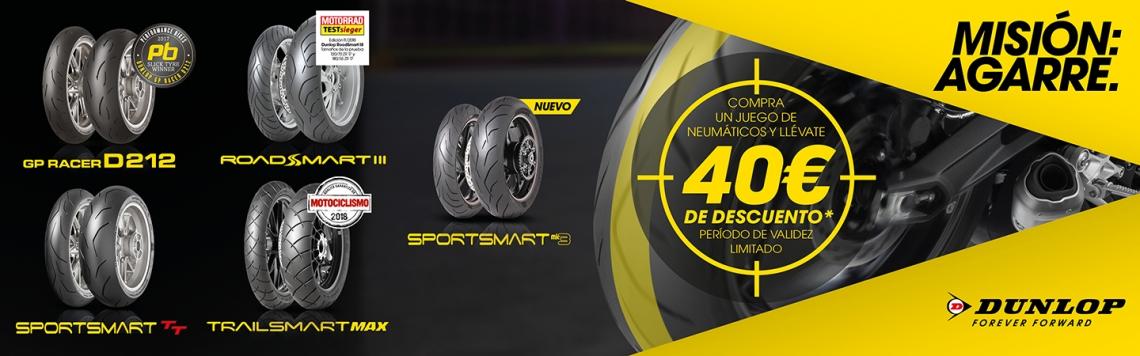 Llévate 40€ por la compra de tus neumáticos de Moto Dunlop