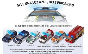 Todos los vehículos prioritarios tendrán luces azules