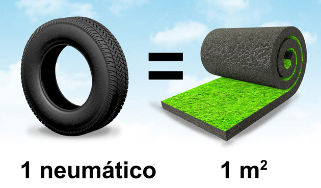 Un neumático reciclado equivale a un metro cuadrado de césped artifical